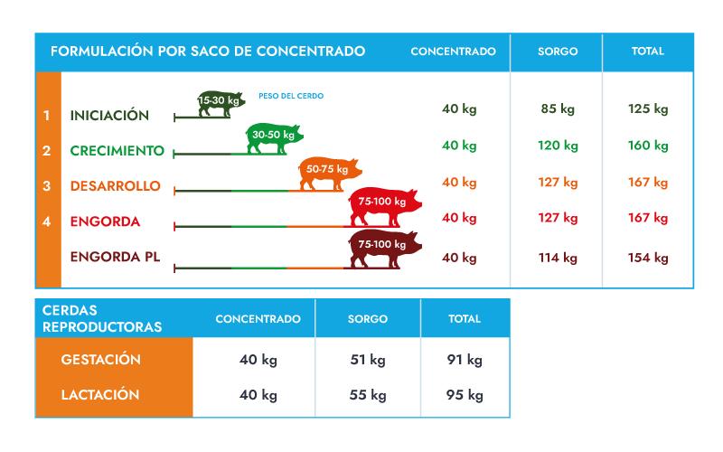 Programa de alimentación de ABA concentrados para cerdos Alta Energía por saco
