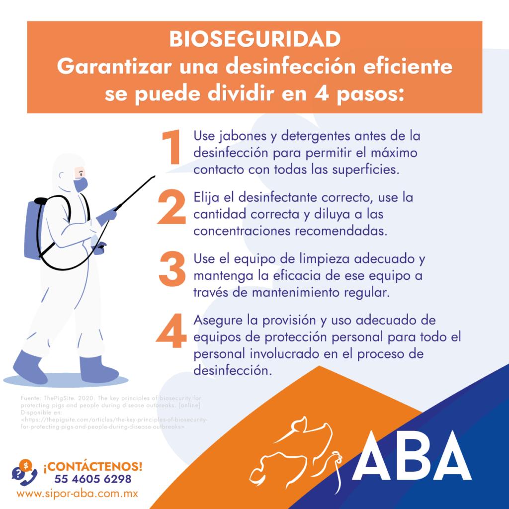 Garantizar una desinfección eficiente de su equipo e instalaciones se puede dividir en 4 pasos.